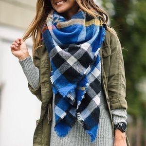 Royal Blue Tartan Plaid Blanket Scarf